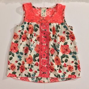 Lily Bleu Floral Lace Tank for Girls | Size: M